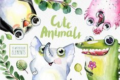 Cute Animals  by Alina-Sh on @creativemarket  --  FREE until Sunday, 10/08/2017.