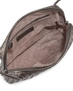 Veneta Small Woven Messenger Bag, Bronze