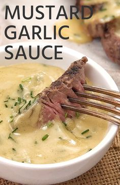 Double Mustard and Garlic Sauce · Chef Not Required. - My recipe for mustard sauce with garlic couldn& be easier. Using dijon mustard, there& - Beef Recipes, Cooking Recipes, Healthy Recipes, Recipes Using Ham Steak, Chicken Sauce Recipes, Cooking Sauces, Garlic Recipes, Game Recipes, Salad Recipes
