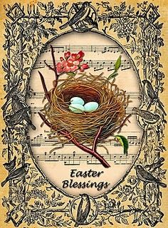 Vintage Easter Not crazy about the frame but love the music and nest