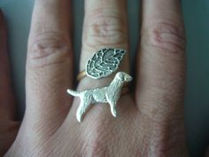 Dog ring with a leaf wrap style adjustable ring by stavri on Etsy