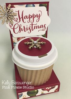 Stampin' Up mini coffee cup Christmas treat gift card holder More