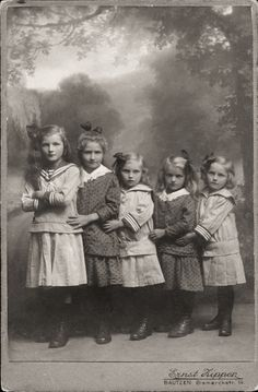 ::::::::: Vintage Photograph ::::::::: Sisters all five standing in a row.