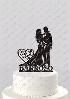 Wedding Cake Topper Silhouette Bride and Groom by TrueloveAffair