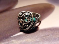Turquoise silver coctail ring turquoise wire wrapped ring by Mirma