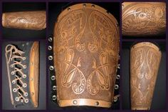 Vixen's Bracer by dragonflyt on DeviantArt Blacksmithing Knives, Leather Bracers, Armor Clothing, Armor Concept, Opal Necklace, Leather Working, Leather Craft, Artisan, Larp Costumes