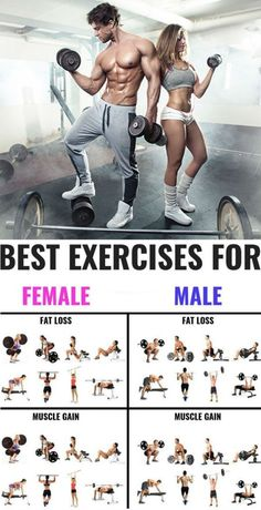 The 25 Best Exercises for Men and Women To Build Muscle This picture is straight up halarious. Everything, man/woman/fat loss or muscle gain. Known this for years, but it's just funny seeing it put so seriously on this picture Muscle Fitness, Gain Muscle, Build Muscle, Mens Fitness, Health Fitness, Men Health, Muscle Food, Gym Fitness, Weight Training Workouts
