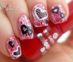 red nail polish,  Valentine manicure