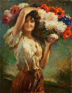 Leopold Schmutzler ~ The Flower Vendor A4 Poster, Poster Prints, Renaissance Kunst, Romantic Paintings, Classical Art, Vintage Artwork, Figure Painting, Female Art, Art Pictures