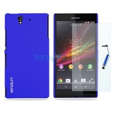Sony Xperia Z Smartphone Bundle - Rubber Hard Case, Screen Protector, Stylus (Blue)