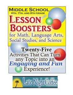 Sixth, Seventh, and Eighth Grade Lesson Boosters for any Topic #lessonbooster