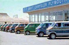 classic Chrysler / Plymouth vans at a dealership all in a row Dodge Van, Chevy Van, Chevrolet Van, Vintage Vans, Vintage Trucks, Vintage Auto, Dodge Dealership, Old School Vans, Cool Vans