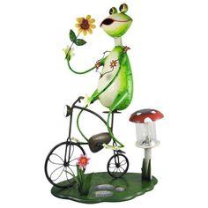 """Bike-Riding Frog Solar Lamp Garden Statue"""