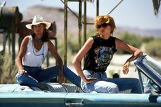 Thelma Dickinson & Louise Sawyer: Best friends who murder a rapist in self defense, flee their mundane lives for a road trip that rack up their illegal charges. (Thelma & Louise, 1991, Ridley Scott. Portrayed by Geena Davis & Susan Sarandon).