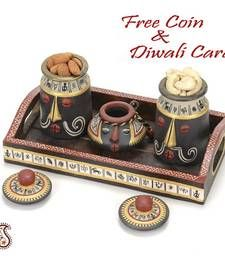 Buy Set of Three Terracotta Dryfruit Jars with hand painted Lids and Tray diwali-dry-fruit online