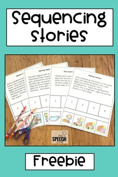 Free four-step sequencing stories sample! Use these worksheets to practice sequencing events, story retell, answering comprehension questions and articulation in reading. Each worksheet comes with Story Sequencing Worksheets, Sequencing Cards, Sequencing Activities, Speech Therapy Activities, Language Activities, Sequencing Events, Story Sequencing Pictures, Enrichment Activities, Play Therapy