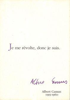 'Le seul moyen d'affronter un monde sans liberté est de devenir si absolument libre qu'on fasse de sa propre existence un acte de révolte.' Albert Camus