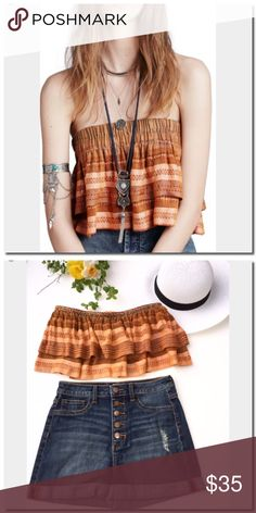 """Free People Tube Top Tiered construction makes you wanna shake it up in a striped tube top. - Bandeau neck - Sleeveless and strapless - Lined - Approx. 10.5"""" length  - Imported Fiber Content Shell: 100% rayon Lining: 94% cotton, 6% spandex Care Hand wash cold Free People Tops"""