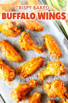 These easy baked buffalo wings are the perfect party appetizer! Seriously, finger food does not get easier or tastier than these golden brown, crispy chicken wings drenched in a perfect homemade buffalo sauce! Easy Appetizer Recipes, Appetizers For Party, Potluck Recipes, Holiday Recipes, Easy Recipes, Dinner Recipes, Super Bowl, Homemade Buffalo Sauce, Homemade Chili