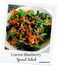 Refreshing Carrot Blueberry Sprout Salad - Make ahead for lunch or side dish. Sprouts are one of the most nutrient dense foods on the planet! Raw Food Recipes, Lunch Recipes, Salad Recipes, Cooking Recipes, Healthy Recipes, Clean Recipes, Healthy Salads, Healthy Eating, Healthy Appetizers
