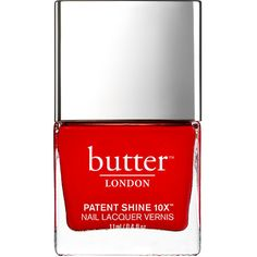 butter LONDON Patent Shine 10X Nail Lacquer, Her Majesty's Red 0.4 oz... (1.245 RUB) ❤ liked on Polyvore featuring beauty products, nail care, nail polish, nails, beauty, red nail polish, gel nail color, butter london and butter london nail lacquer
