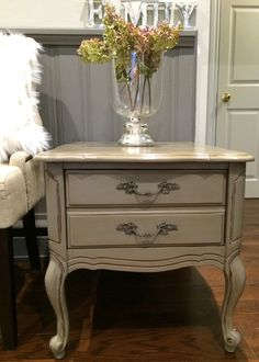 Annie Sloan French Linen/ chalk paint/ distressed, clear and dark wax/lovely aged patina/French provincial side table/ refinished by Beautifully Brocante by Lori