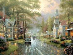 Hometown Evening Painting by Thomas Kinkade