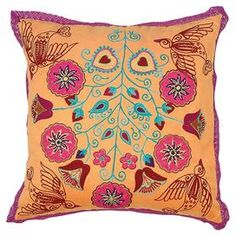 "Karma Living set of 2 embroidered throw pillows with a multicolor bird and floral motif.     Product: PillowConstruction Material: UltrasuedeColor: OrangeFeatures: Insert included Embroidered fabric Charming design Dimensions: 16"" x 16"""