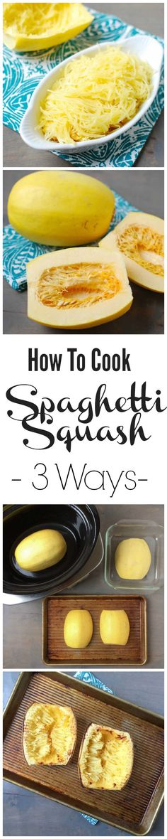 Spaghetti squash is very yummy and a great sub for those pasta dishes. Here's how to cook them for those who want to try! Want to learn how to cook spaghetti squash? Here are 3 different ways to try it, plus recipe ideas! Low Carb Recipes, Vegetarian Recipes, Cooking Recipes, Healthy Recipes, Cooking Ribs, Cooking Salmon, Spaghetti Squash, Protein Shakes, Vegetable Dishes