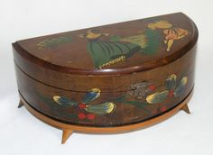 Vtg c50s-60s Mallorca Spain wooden jewellery box mirror hand-painted atomic legs