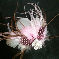 CUSTOM COLORS Ostrich Feather and Crystal by kristindangerdesigns, $38.00