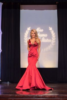Taylor Jones recently wore this stunning red mermaid gown at the Miss Alabama United States 2016 pageant where she placed 2nd Runner-up!