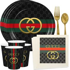 Gucci Inspired Black Custom Plates Cups or Napkins Birthday Plate, 15th Birthday, Boy Birthday, Gucci Cake, Muñeca Diy, Quinceanera Party, Quinceanera Decorations, Custom Plates, Birthday Party Decorations