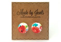New to jewlswashere on Etsy: Fabric Button Earrings - Spring Watercolors - Buy 3 get 1 FREE (6.00 USD)