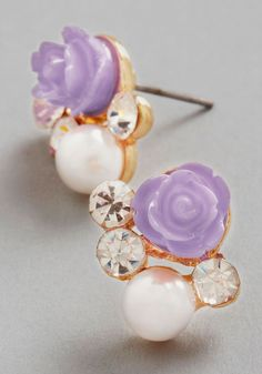 Sashays Gone By Earrings in Lilac | Mod Retro Vintage Earrings | ModCloth.com