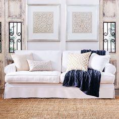 Louis XV Lily 3 Seat Sofa - Belgium Wrinkle White
