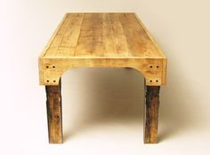 Farmhouse table made from old scaffolding planks; Ryan Frank