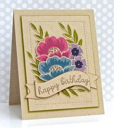 handmade birthday card from Pretty Periwinkle ... kraft layers with colorful flowers stamped on kraft and die cut ... luv the die cut banner with the sentiment .. Paper Trey Ink Stamps
