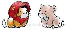Chibi Simba and Nala by ~QueenAviata on deviantART IF YOU DON'T THINK THIS IS THE CUTEST THING I'M SORRY BUT YOU ARE WRONG