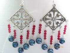 Tibetan silver charm blue pearls red crystal glass fashion earrings $15.00