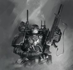 Warhammer 40k Art, Combat Gear, Sci Fi Weapons, Female Soldier, Angel Of Death, Character Portraits, Space Marine, Elder Scrolls, Marines