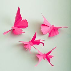 3D Wall Butterflies, 10 Fuchsia Pink Butterfly Silhouettes for Girls Room, Nursery, and Home Art Decor