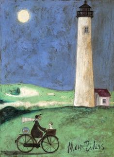 Love Sam Toft - have three of her prints in my home. A piece of whimsical art that encaptures all she means to you - Moon Riders Karla Gerard, Lighthouse Art, English Artists, Bicycle Art, Arte Popular, Whimsical Art, Dog Art, Painting Inspiration, Lovers Art