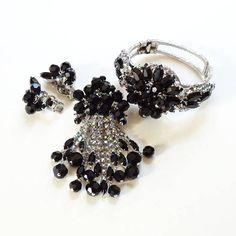 Juliana Verified Black Bead Rhinestone Set Clamper Bracelet Dangle Brooch Clip Earrings 1960s by redroselady on Etsy