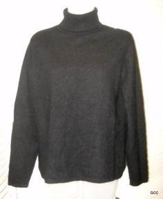 Charter Club 2 Ply Black Cashmere Turtleneck Sweater M Womens #CharterClub #TurtleneckMock