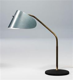 J. T. Kalmar; Iron, Brass and Enameled Metal 'Facit' Table Lamp for Philips, 1955.