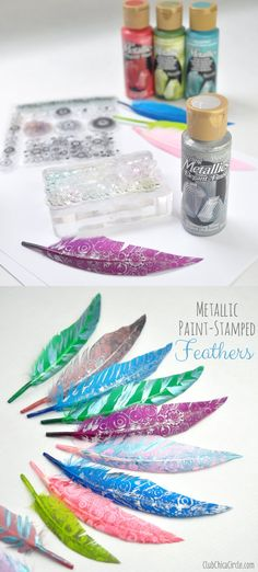 Metallic Paint-Stamped Feather Decorations ~ I really like this idea! Now I need to find the perfect stamp. Crafts To Make, Crafts For Kids, Arts And Crafts, Diy Crafts, Kids Diy, Feather Painting, Feather Art, Feather Pens, Craft Tutorials