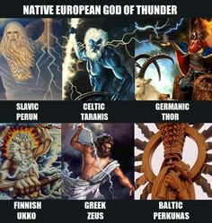 """For those interested in pagan religions."" Although Thor was Norwegian I thought. Mythological Characters, Mythological Creatures, Fantasy Creatures, Mythical Creatures, World Mythology, Greek Mythology, Russian Mythology, Myths & Monsters, Pagan Gods"