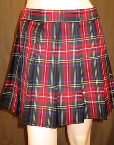 Black Stewart Tartan Plaid Pleated Skirt~small to plus size~Custom Make skirts~Highland Games~Red Black Pleated Christmas Skirt@ sohoskirts