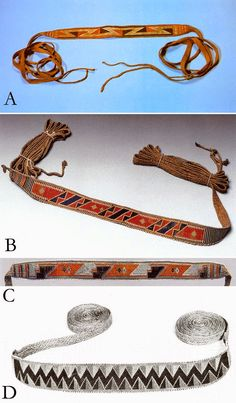 Four burden straps from the 18th century. (A) - Iroquois: from the Museum of Anthropology and Ethnography, Russia. (B) - Iroquois or Huron – Mid- to late 18th c. Made of hemp, dyed moosehair false embroidery and glass beads. (C) - Collected in the St. Lawrence River valley, c 1775, and possibly Iroquois. It's edged with white imitation wampum. (D) - Iroquois, sometime before 1775. Colors are orange, blue, black and white. Dyed Moosehair in false embroidery.
